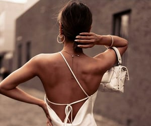 bag, fashion, and white dress image