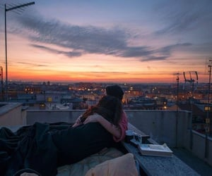 chill, city view, and couple image