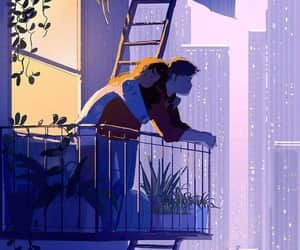 art, couple, and hug image