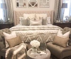 bed, bedroom, and beige image
