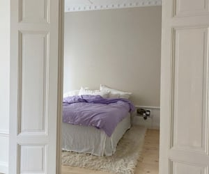 bedroom, interior, and purple image