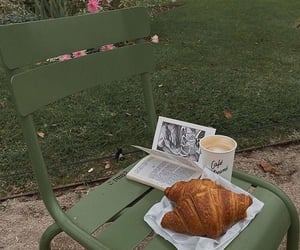 coffee, aesthetic, and croissant image