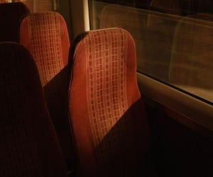 bus, red, and seat image