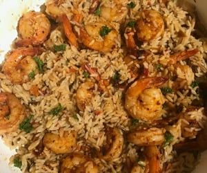 rice, entree, and shrimp scampi image