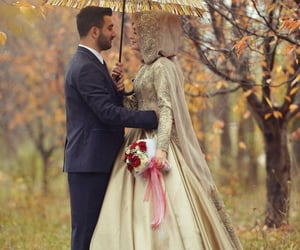autumn, couples, and islamic image