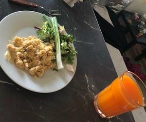 breakfast, juice, and eggs image