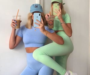 green, blue, and fashion image