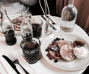 food, pancakes, and drink image