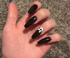 acrylics, black nails, and long nails image