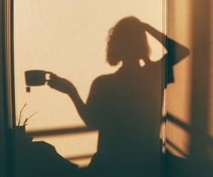 shadow, girl, and tea image