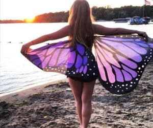beach, bohemian, and butterfly image