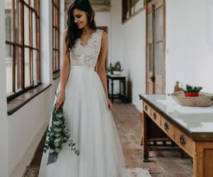 fashion, boho style, and wedding dress image
