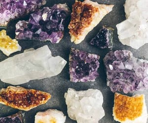 aesthetic, purple crystals, and white gems image