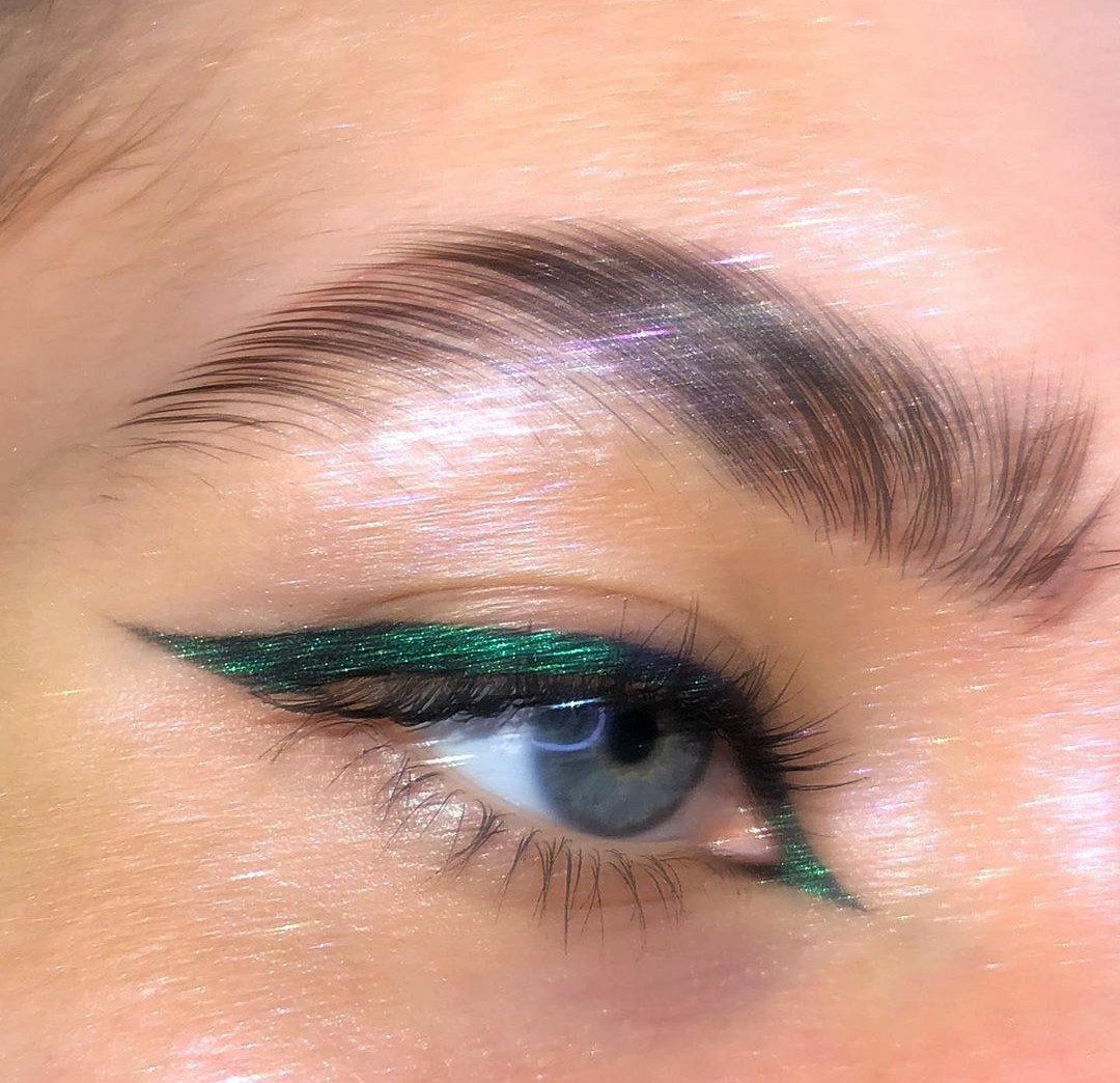 eyeliner, green, and makeup image