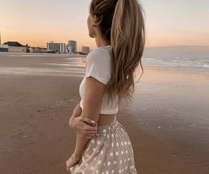 beach, curl, and fashion image