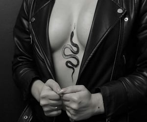 black white, snake, and tattoo image