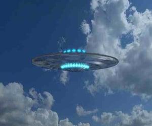 ufo, blue, and sky image