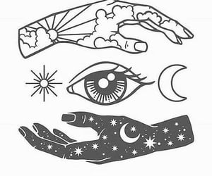 moon, witch, and hands image