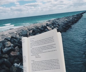 book, ocean, and clouds image
