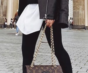 fashion, leather jacket, and Louis Vuitton image