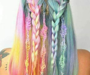 hair, braid, and rainbow image