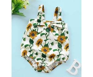 baby clothes, girls, and sunflower print image