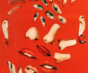Collage, face, and red image