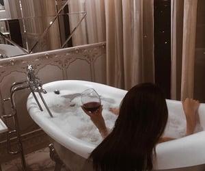 bath, girl, and bathroom image