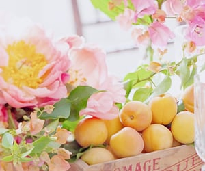flowers, peach, and fruit image