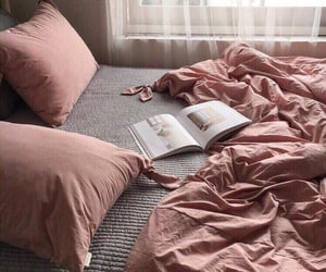 bed, pink, and home image