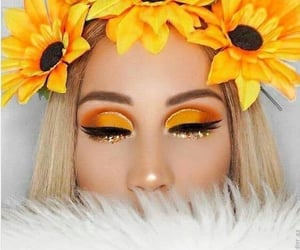 sunflower, makeup, and yellow image