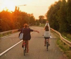 bike, sunset, and friends image