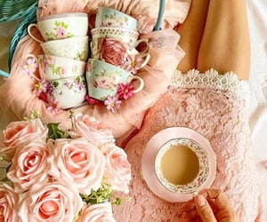 coffee, floral, and flowers image
