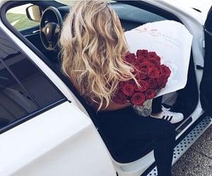 girl, car, and rose image