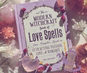 book, flowers, and witch image