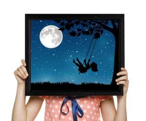 etsy, full moon print, and night sky image
