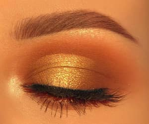 eyes, makeup, and gold image