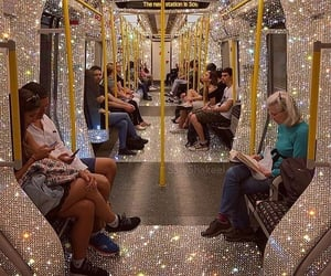 bus, glitter, and people image