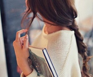 book, girl, and hairstyle image