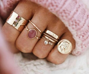 rings, pink, and gold image
