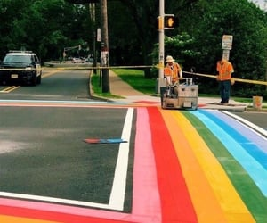 rainbow, street, and art image