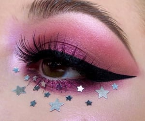 makeup, stars, and pink image