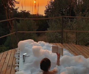 bath, sunset, and relax image