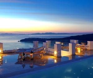 sea, Greece, and santorini image