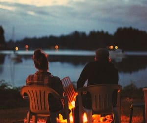 couple, fire, and night image