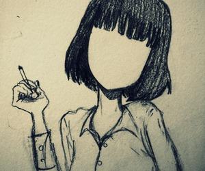 girl, art, and cigarette image