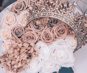 flowers, rose, and crown image