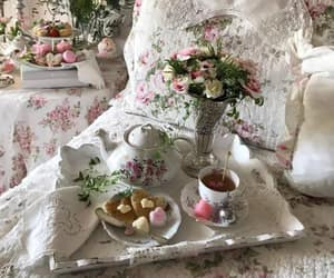bed, breakfast, and flower image