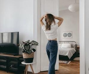 bedroom, denim, and girl image