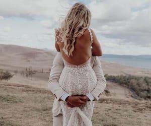 wedding, couple, and dress image